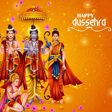 Happy Dussehra background showing festival of India Stock Illustratie