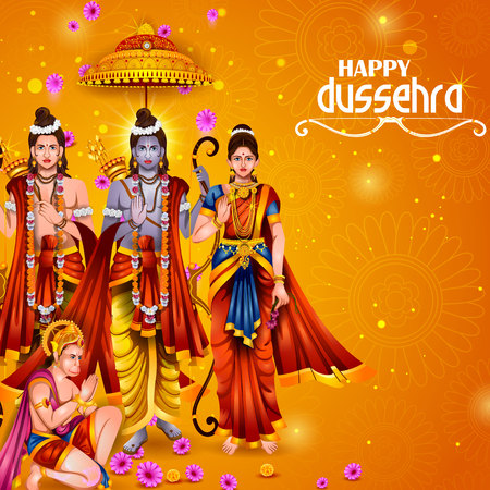 Happy Dussehra background showing festival of India Иллюстрация