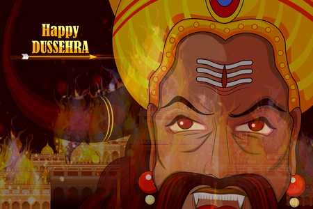raavana: Ravana monster in Happy Dussehra background showing festival of India Illustration