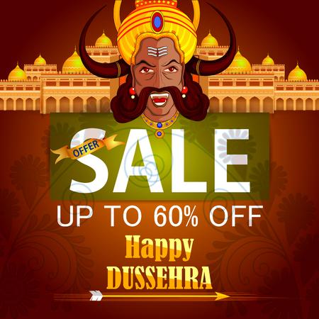 dashamukha: Ravana monster for Dussehra in Happy Dussehra Sale promotion offer background showing festival of India Illustration
