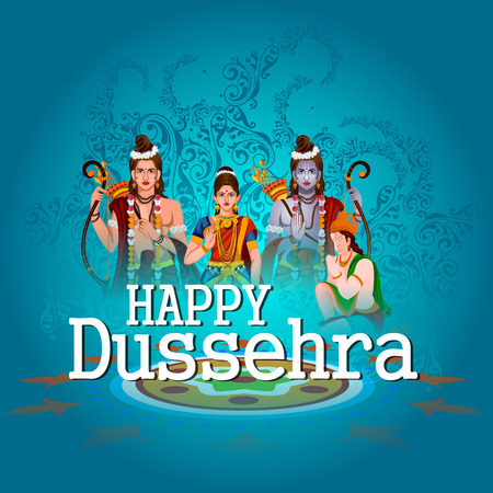 Happy Dussehra background showing festival of India Illustration