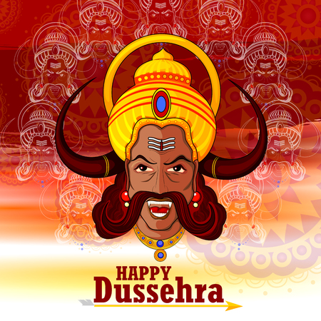 Ravana monster in Happy Dussehra background showing festival of India Illustration
