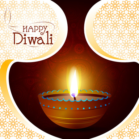 Illustration of decorated diya for Happy Diwali holiday background