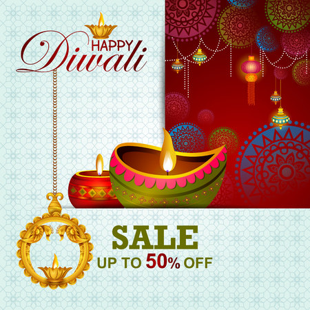 illustration of Happy Diwali shopping sale offer
