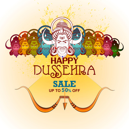raavana: easy to edit vector illustration of Ravana monster for Dussehra in Happy Dussehra Sale promotion offer background showing festival of India
