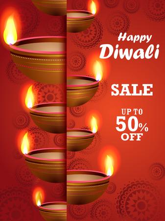 candle: illustration of decorated diya on Happy Diwali shopping sale offer Illustration