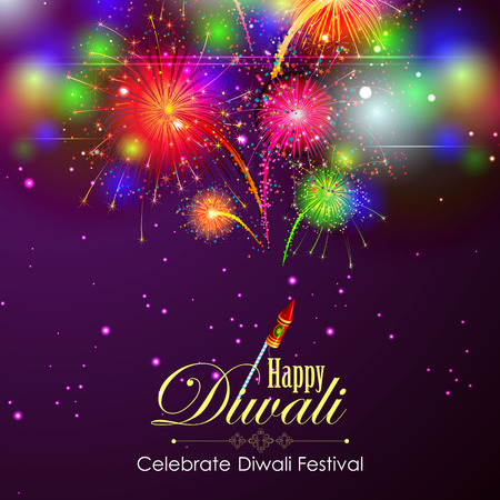 Firework in Happy Diwali night sky for India festival