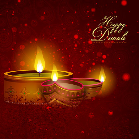 candle: Illustration of decorated diya for Happy Diwali holiday background