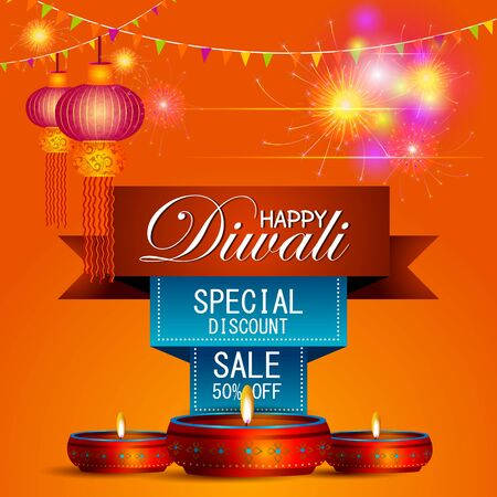 illustration of decorated diya on Happy Diwali shopping sale offer Illustration