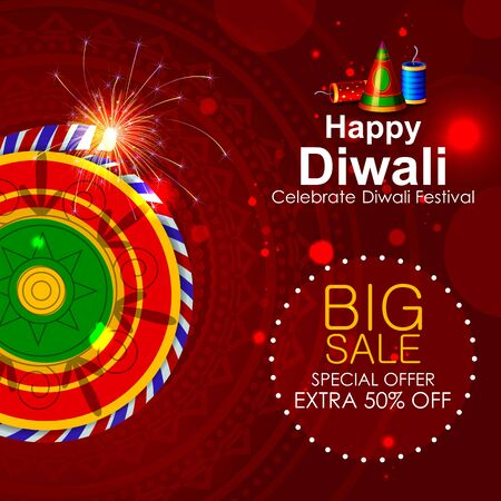 illustration of firecracker on Happy Diwali shopping sale offer Stock Photo