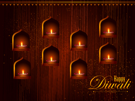 religious event: Illustration of decorated diya for Happy Diwali holiday background