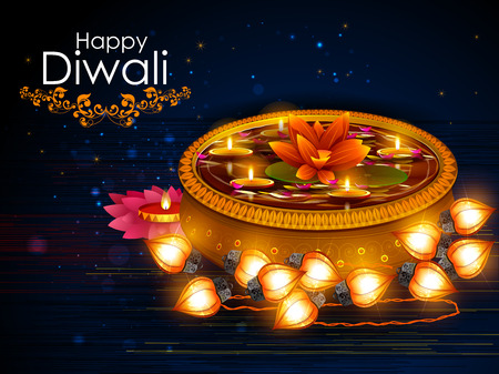 candle: easy to edit vector illustration of decorated diya for Happy Diwali holiday background