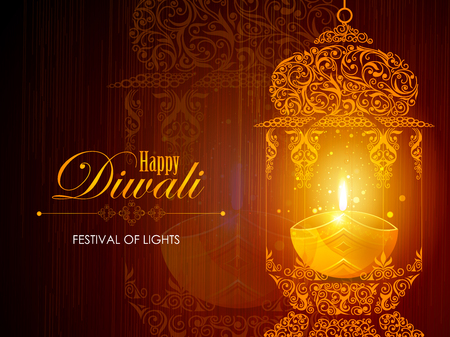 Decorated for Happy Diwali background Vectores