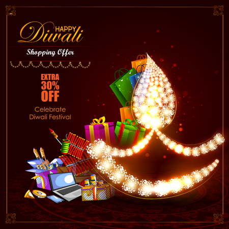 Decorated diya with cracker for Happy Diwali holiday  shopping sale offer background