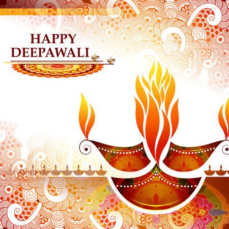hinduismo: Ilustración de diya decorado para el fondo de vacaciones feliz Diwali Foto de archivo