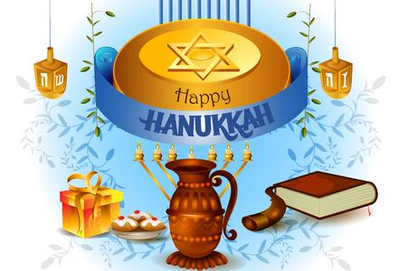 holy book: easy to edit vector illustration of Happy Hanukkah for Israel Festival of Lights celebration