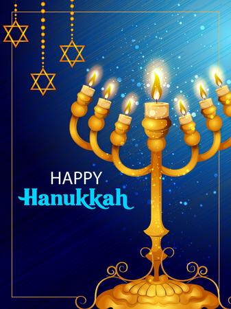 Happy Hanukkah for Israel Festival of Lights celebration Illustration
