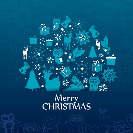 Happy New Year and Merry Christmas greeting background