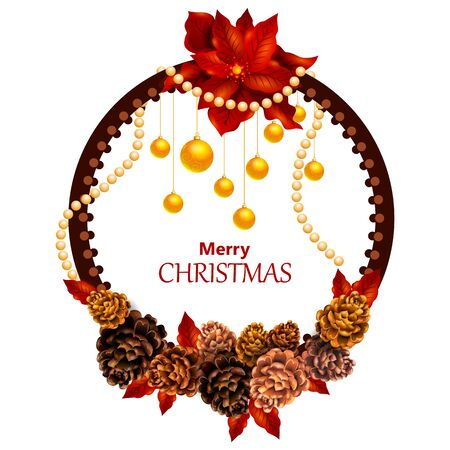 Wreath decoration for Happy New Year and Merry Christmas greeting