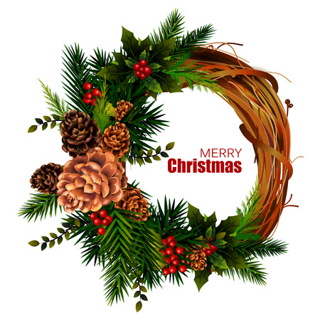 pinecones: Wreath decoration for Happy New Year and Merry Christmas greeting. Illustration