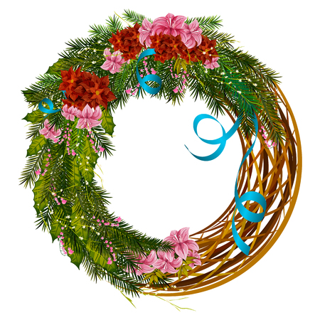Decorative wreath for Happy New Year and Merry Christmas greeting background Stock Photo