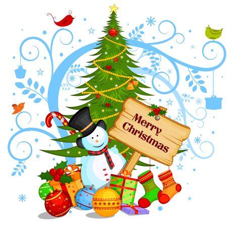 冬バック グラウンドでメリー クリスマスの休日のお祝いのギフトと雪だるま  イラスト・ベクター素材