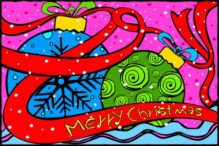 Merry Christmas and Happy New Year Holiday greetings background Illustration
