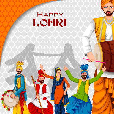 Easy to edit vector illustration on Happy Lohri festival of Punjab India background