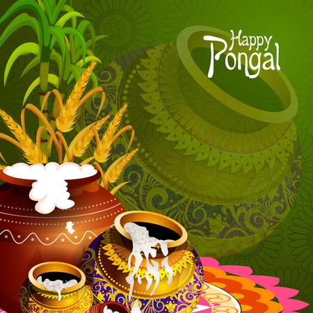 easy to edit vector illustration of Happy Pongal festival of Tamil Nadu India background