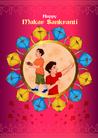 Happy Makar Sankrant Vector illustration.