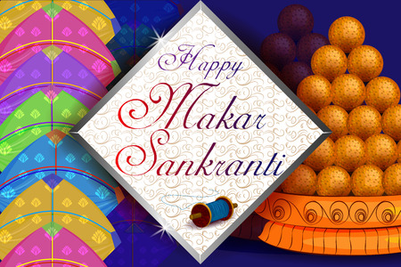 Delicious sweet and colorful kite for Indian festival, Makar Sankranti