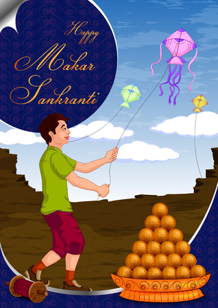 Boy flying kite for Happy Makar Sankrant in vector Illustration