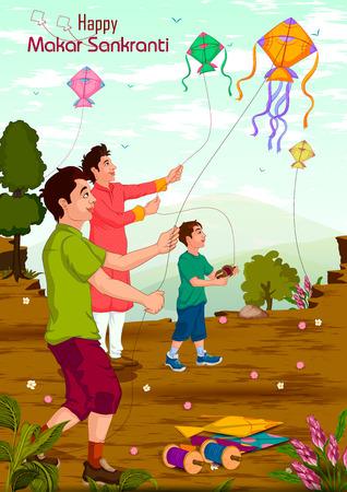 Family flying kite for Happy Makar Sankrant in vector