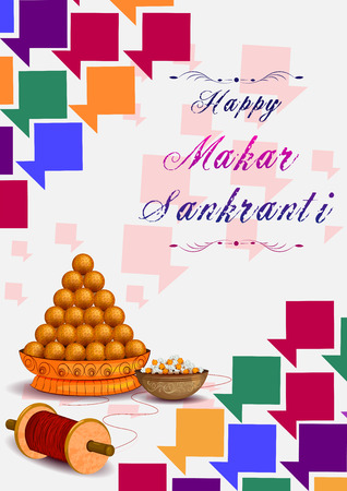 Delicious sweet and colorful kite for Indian festival, Makar Sankranti in vector