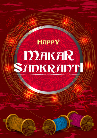 Colorful kite flying for Happy Makar Sankranti in vector Illustration