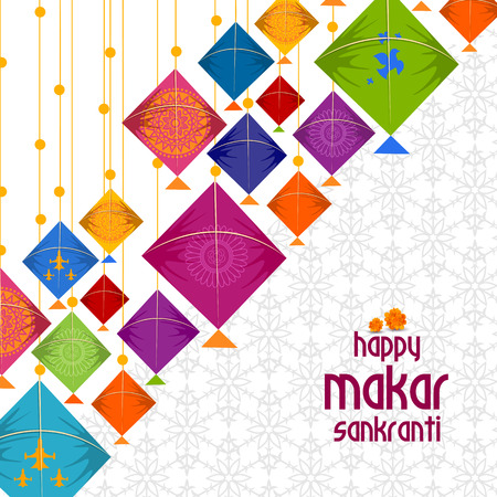 Happy Makar Sankranti background with colorful kites Illustration