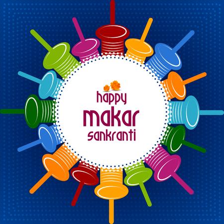 Happy Makar Sankranti Colorful background Illustration