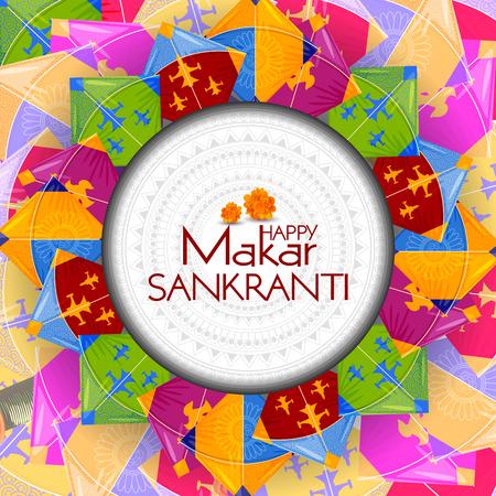 Happy Makar Sankranti background with colorful kites Illustration
