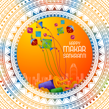 Easy to edit vector illustration of Happy Makar Sankranti background with colorful kite
