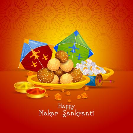 Easy to edit vector illustration of Happy Makar Sankranti background