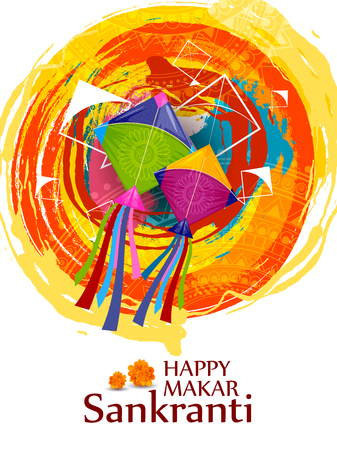 easy to edit vector illustration of Happy Makar Sankranti background with colorful kite Stock Illustration - 92167459