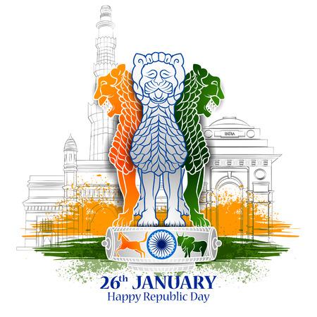 1 月 26 日の幸せ共和国日のインド トリコロール背景のベクトル図を編集しやすい