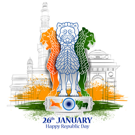 easy to edit vector illustration of Happy Republic Day of India tricolor background for 26 January Zdjęcie Seryjne - 92407543