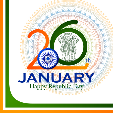 easy to edit vector illustration of Happy Republic Day of India tricolor background for 26 January Stock Vector - 92407692