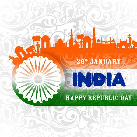 fácil de editar ilustración vectorial del fondo tricolor de Happy Republic Day of India para el 26 de enero