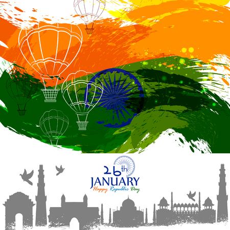 gemakkelijk te bewerken van vectorillustratie van Happy Republic Day of India tricolor achtergrond voor 26 januari