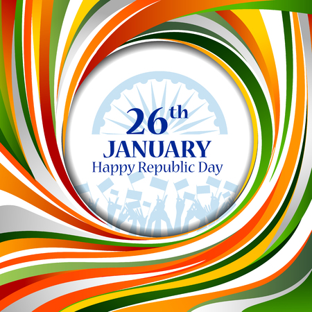 easy to edit vector illustration of Happy Republic Day of India tricolor background for 26 January