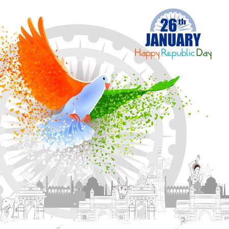 łatwe do edycji ilustracji wektorowych z pomnika i punktu orientacyjnego Indii na tle obchodów Dnia Republiki Indii Ilustracje wektorowe