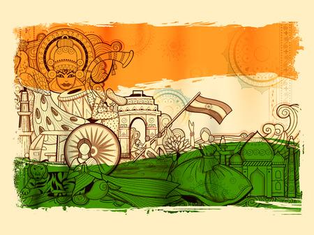 India achtergrond toont zijn ongelooflijke cultuur en diversiteit met monument, dans en festival Stock Illustratie