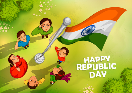 Indian people saluting flag of India  with pride on Happy Republic Day